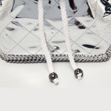 Waterproof PU Rhombic Sliver Chains Backpacks (A071)