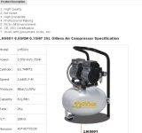 компрессор воздуха поршеня 1440rpm 0.75HP 0.55kw 25L 8bar Oilless