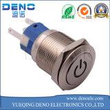 Interruptor de pulsador ligero azul del metal de plata