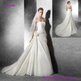 Strapless plissado uma linha vestido de casamento com flor lateral