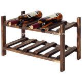 2 Flaschen-freistehende klassische hölzerne Wein-Bildschirmanzeige der Reihe-10