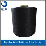 Traite 3.20 de filé de Spandex du polyester DTY 150d/48f Black+40d