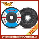 5 '' discos abrasivos de la solapa del óxido de la calcinación (cubierta 26*16m m de la fibra de vidrio)