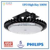 Philips LED 칩과 Meanwell LED 운전사를 가진 높은 만 빛 5 년 보장 100W UFO LED