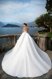 Djanet Prinzessin Full Sleeve Satin/Spitze weg von den weißen Hochzeits-Kleidern