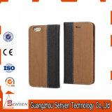 Caisse en cuir d'unité centrale de type en bois de pochette pour l'iPhone 7 avec rester