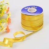Лента вязки Lurex золота металлическая глянцеватая косая