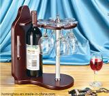 Crémaillère en bois élégante et gracieuse en verre de vin avec la crémaillère de bouteille