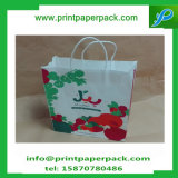 Bolso cosmético de papel impreso insignia de encargo de la bolsa de papel de Kraft del bolso del regalo del bolso de compras que graba con la maneta