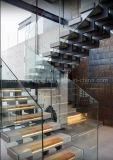 세겹 또는 3개의 세로 침목 U 모양 똑바른 유리제 계단