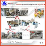 Pesaje automático de los tallarines largos secos y empaquetadora