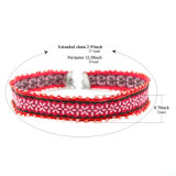 A semente vermelha perla a colar Handmade cor-de-rosa do Choker do teste padrão de flor do Crochet