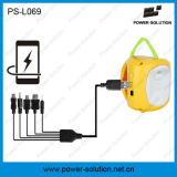 2W recargable solar de la linterna con 1W bulbo y cargador de teléfono móvil