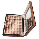 Caixa de presente de madeira do indicador do armazenamento da jóia do anel do revestimento lustroso de Anique Brown