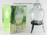 Grande frasco de vidro do suco/distribuidor de vidro da bebida com tampa e carrinho, torneira