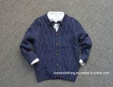 Maglione tessuto stereo dei bambini lavorato a maglia reticolo del cardigan