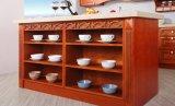 Gabinete de cozinha branco da madeira contínua do estilo da cor (zq-009)