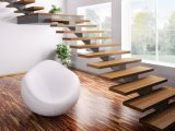 Escada de vidro Straight simples e Straight Single Straight with Ce / Wooden Stairs