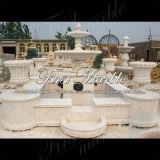 Fontana di pietra di marmo Mf-1007 del calcio dell'oggetto d'antiquariato del travertino del giardino del granito