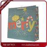 Мешок фольги бумажный с цветами рождества & конструкцией, бумажным мешком подарка, мешком подарка Chirstmas бумажным, мешком искусствоа бумажным с ручками закрутки