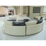 Sofá de couro preto e branco 8023 do projeto redondo o mais atrasado do sofá