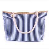 O saco High-Capacity listrado forma da lona carreg o saco de ombro ocasional da lona
