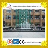 Fontana dello stagno della tabella fuori della costruzione dell'azienda