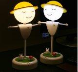 Luz de la noche de la Navidad del espantapájaros LED del sensor del tacto con la lámpara de escritorio del vector de la batería LED