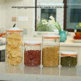 4PC de Kruik van de Opslag van het Voedsel van het Glas van Borosilicate met Plastic Deksel wordt geplaatst dat