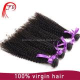 高品質のねじれたカールのインドのバージンのRemyの人間の毛髪の束