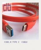 USB3.0 tipo - cabo de fio liso de C, padrão de Current~3A USB3.0