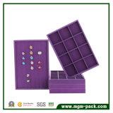 Bandeja púrpura de la visualización de la joyería del terciopelo de la alta calidad