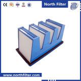 공기 처리를 위한 중간 효율성 V 은행 부대 필터