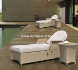 Side Table를 가진 고리 버들 세공 Rattan Outdoor Rattan Chaise Lounge