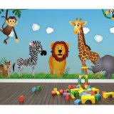 子供部屋の壁のためのホーム装飾的でかわいい動物園動物の壁画の壁紙