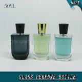 frasco de vidro do pulverizador de perfume 50ml com ouro & o tampão preto