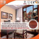 Ventana de cristal de aluminio de la doble vidriera de la inclinación y de la vuelta de la rotura termal, color de madera del acabamiento del grano de madera de roble rojo 3D