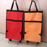 Gefaltete Einkaufstasche mit Rad-Klage für Reklameanzeige und Geschenk
