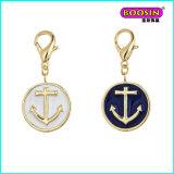 Fashion New Design Custom Esmalte Anchor Gold Pendant