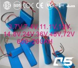 3.7V, 7.4V, 11.1V, 12V, 14.8V, 24V, 36V, 48V, 72V Li-Ion 18650, zylinderförmig, nachladbar, LiFePO4, Lithium-Batterie