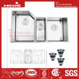 Edelstahl unter Montierungs-Dreiergruppen-Filterglocke-handgemachter Küche-Wanne