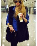 Тельняшка ткани шерсти Faux пальто оптовой зимы женщин безрукавный