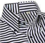 Camicia in bianco e nero con la banda verticale ed orizzontale Acrossed