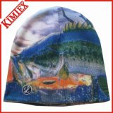 뜨개질을 한 모자를 인쇄하는 겨울 승진 승화