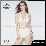 Dame-Sommer-Festivalhalter-Ansatz-Häkelarbeit-Bikini-Badeanzug
