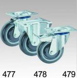 Graue PU-Schritt-Schwenker-Platten-Oberseite-Fußrolle