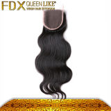 Wear Natural Hairline와 Baby Hair를 가진 Fellling Middle Part Peruvian Silky Base Closure에 쉬운