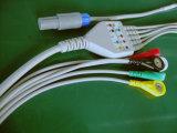 創造的なSnap&Clipのプラスチック6pin 5 ECGケーブル