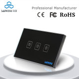 Fornitore, Sankou, Black Crystal Glass Panel, 110~250V, 3-Gang, Touch Control Light Switch, noi
