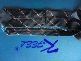 Relation étroite tissée noire et rouge de polyester avec le logo